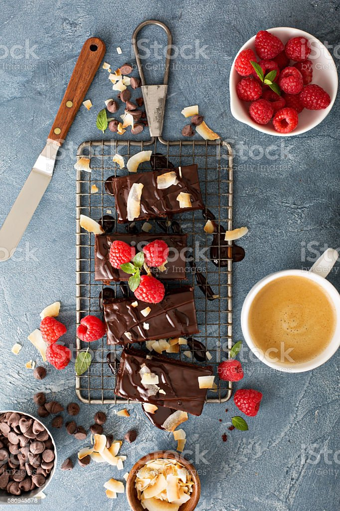 Brownies on a cooling rack stock photo
