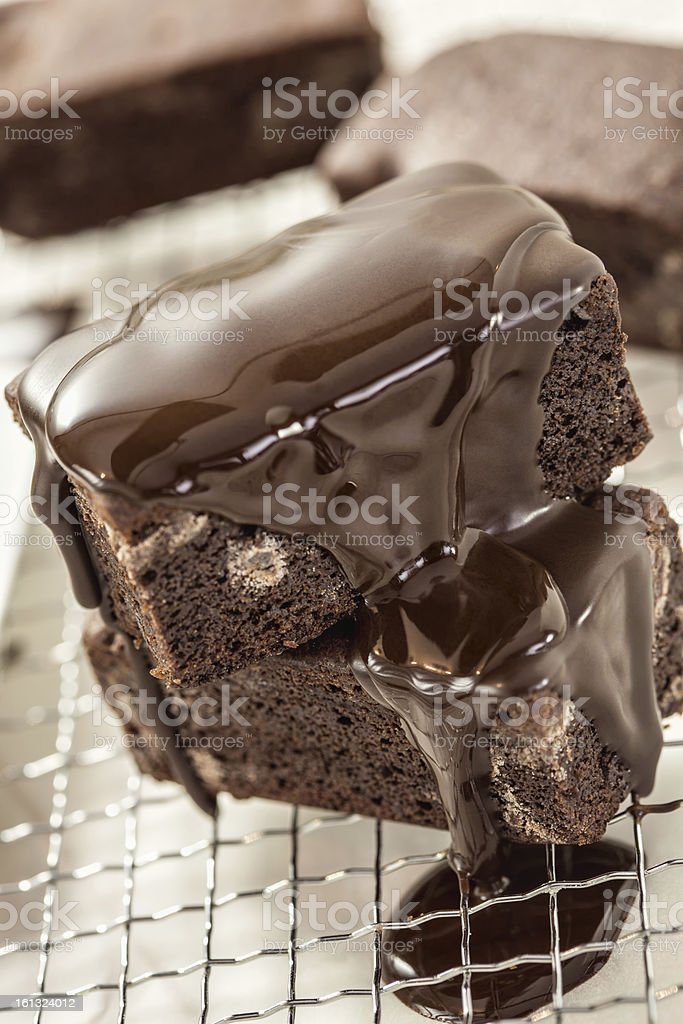 Brownies with Chocolate Sauce royalty-free stock photo