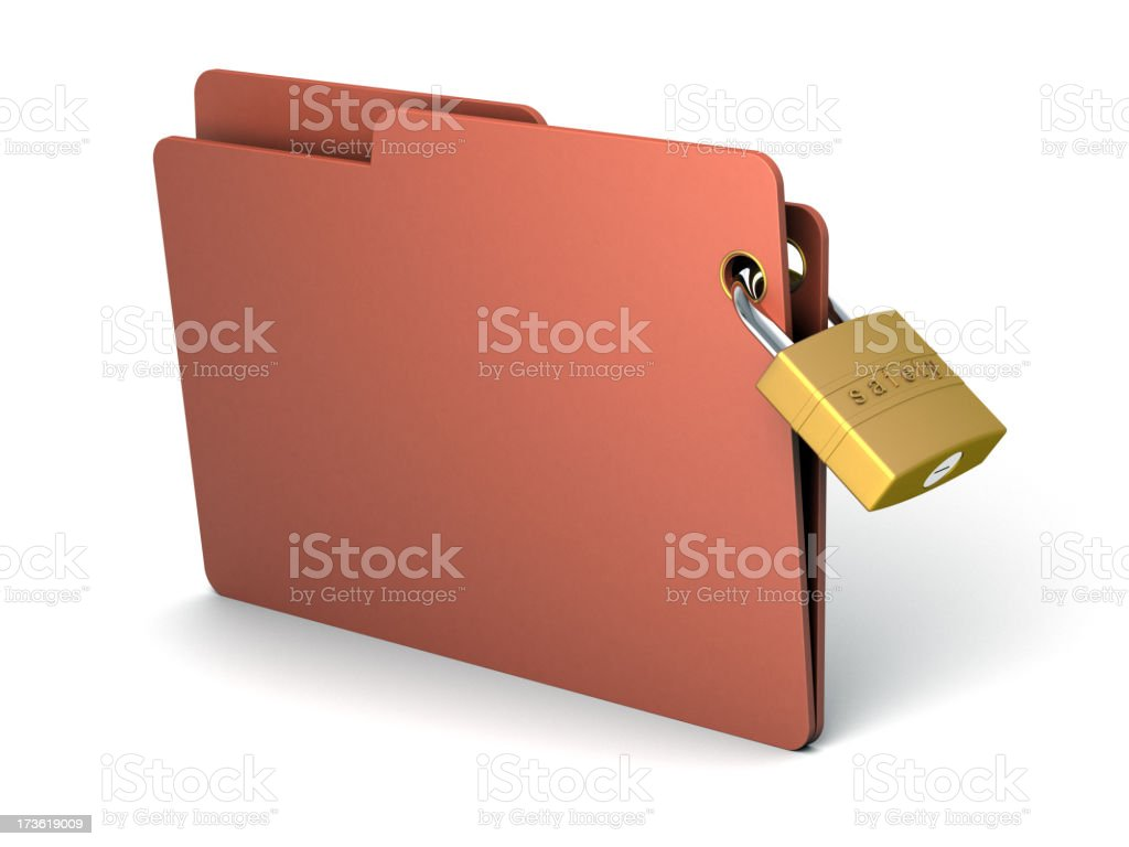 3D brown-red folder with a golden lock royalty-free stock photo