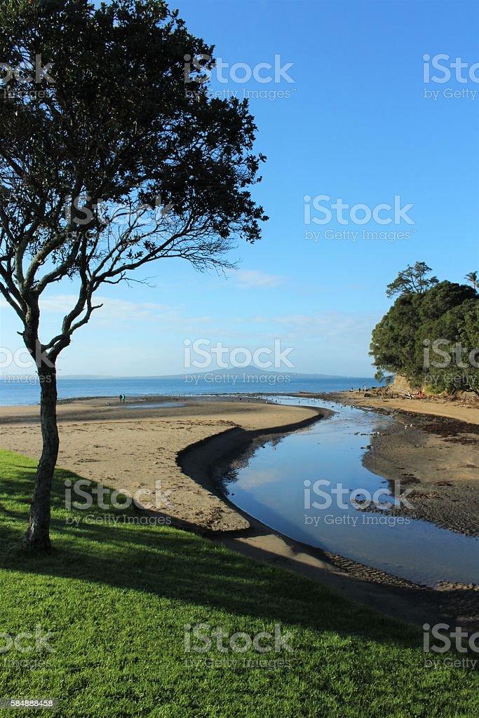 Browns Bay and Rangitoto stock photo