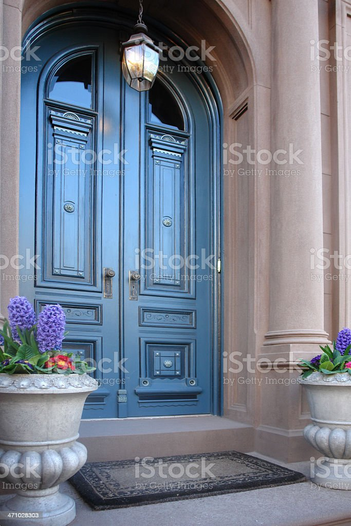 Brownstone arched entry doors royalty-free stock photo