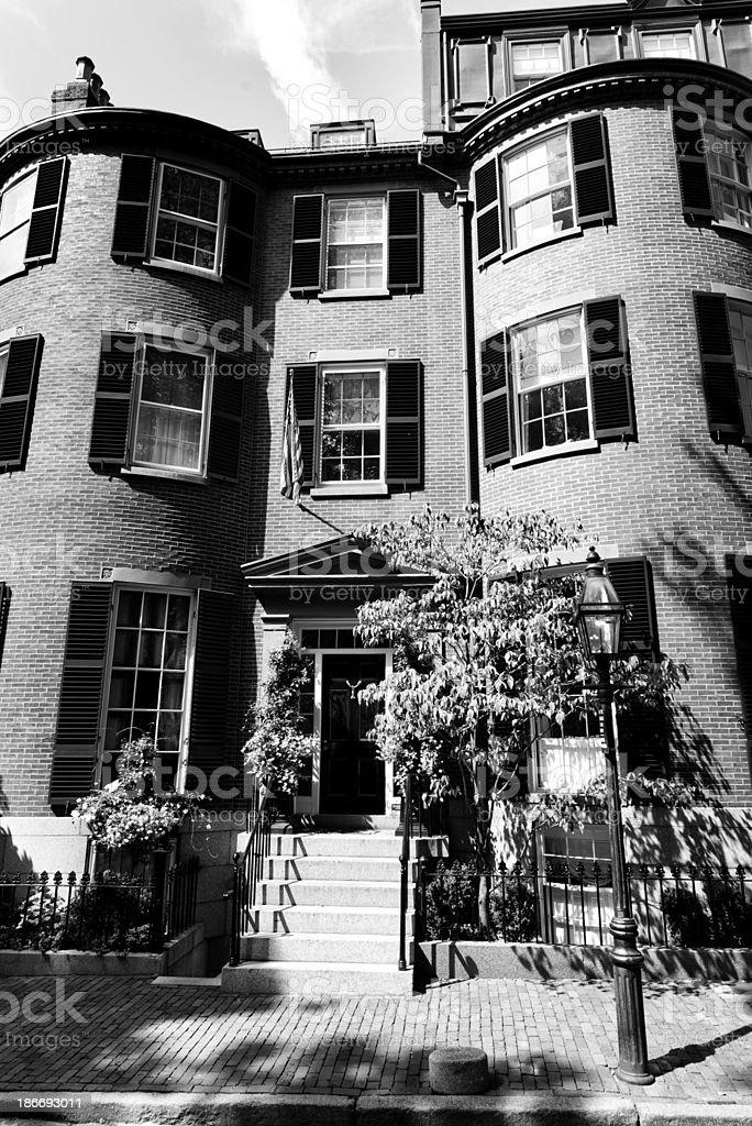 Brownstone, Boston. Black And White royalty-free stock photo