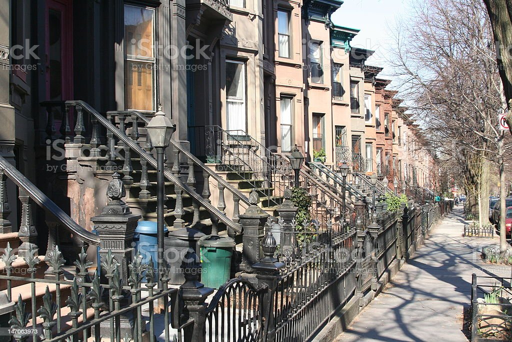 Brownstone Brooklyn royalty-free stock photo