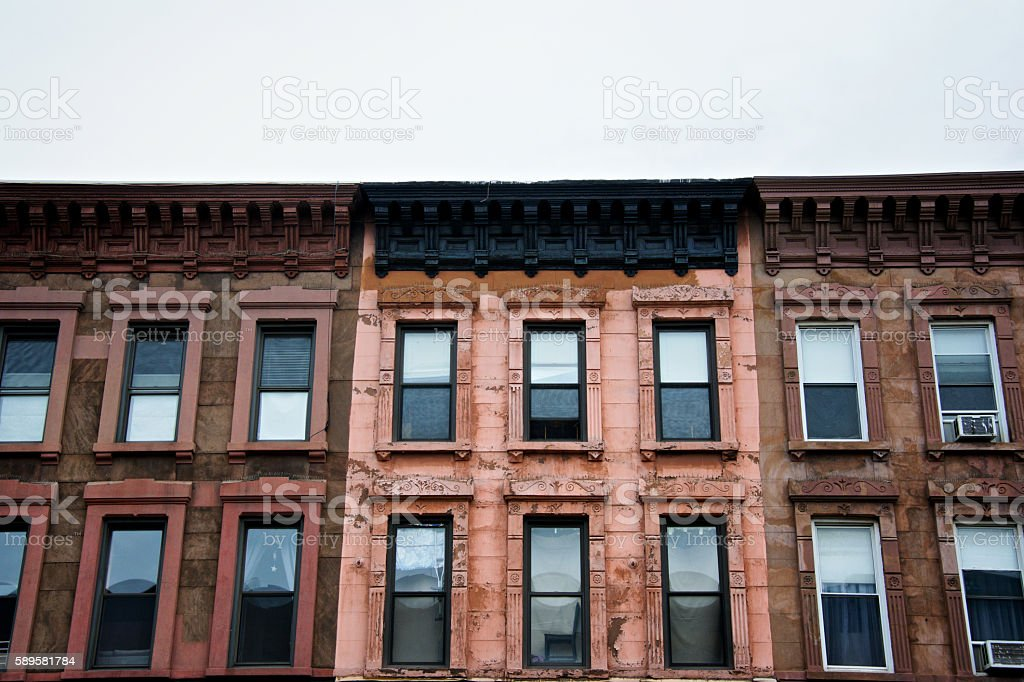 Brownstone c.1880's Apartment Buildings, Park Slope, Brooklyn, New York City stock photo