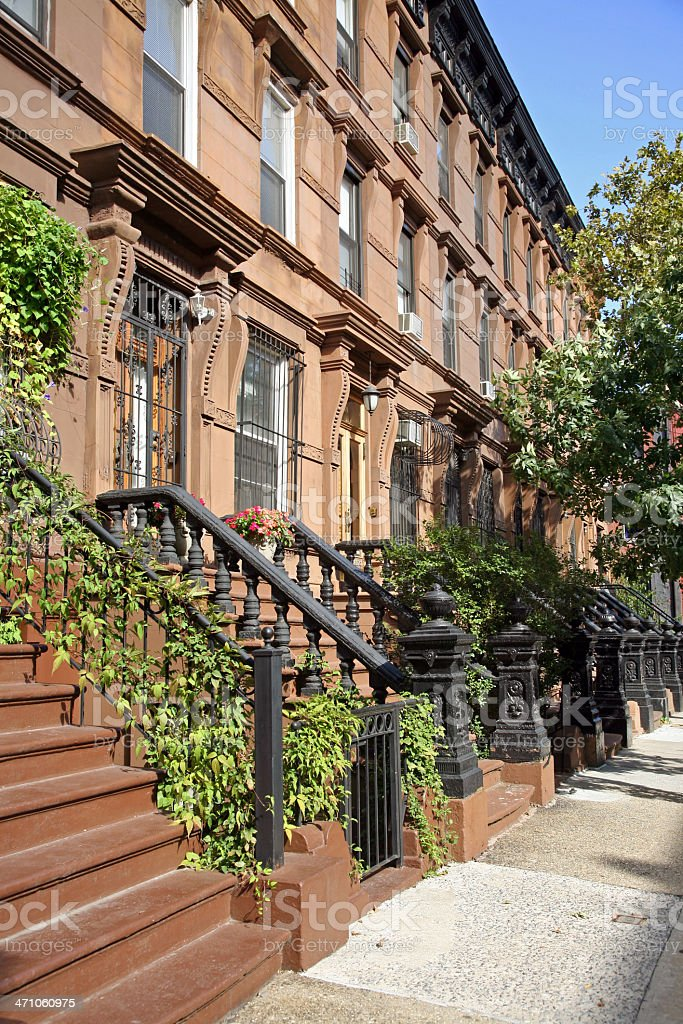 Brownstone Homes In Harlem royalty-free stock photo