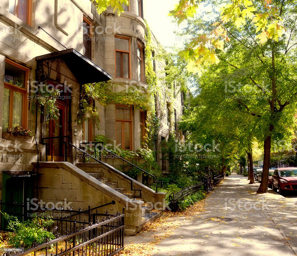 Brownstone, Montreal. stock photo