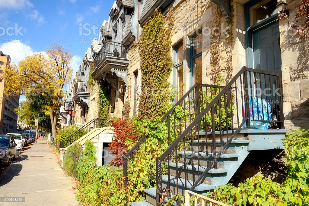 Brownstone, Montreal stock photo