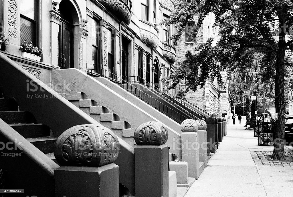 Brownstone , NYC. Black And White. royalty-free stock photo