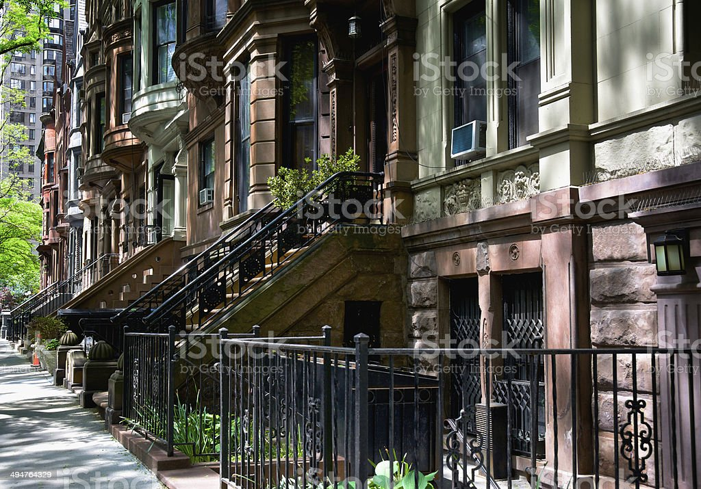 Brownstone Row homes, Upper West Side, New York City stock photo
