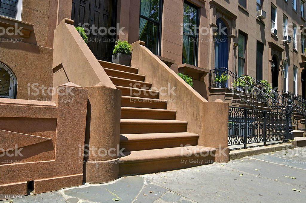 Brownstone row house entrance, Cobble Hill, Brooklyn, New York City stock photo