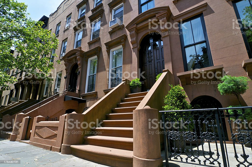 Brownstone row houses, Cobble Hill, Brooklyn, New York City royalty-free stock photo