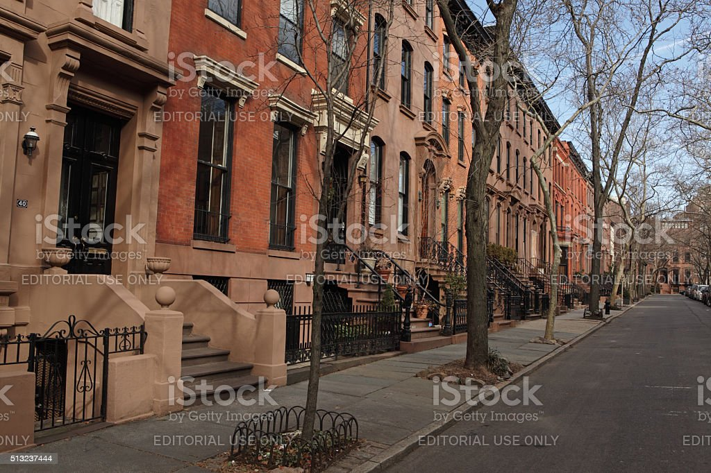 Brownstone townhouses on Garden Place in historic Brooklyn Heights stock photo
