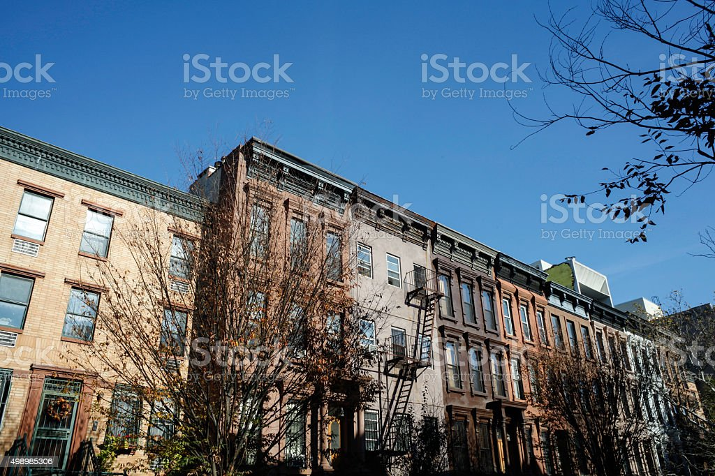 Brownstones Apartments Real Estate stock photo