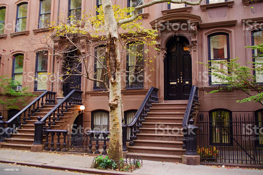Brownstones New York City stock photo