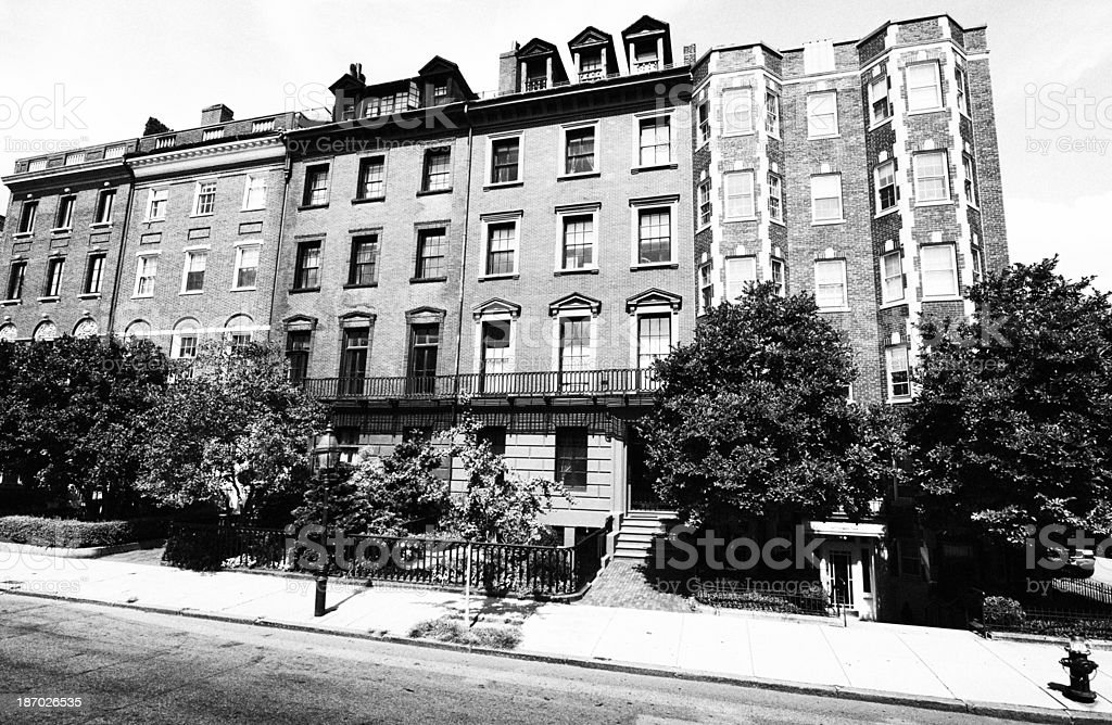 Brownstones,Boston.Black And White royalty-free stock photo