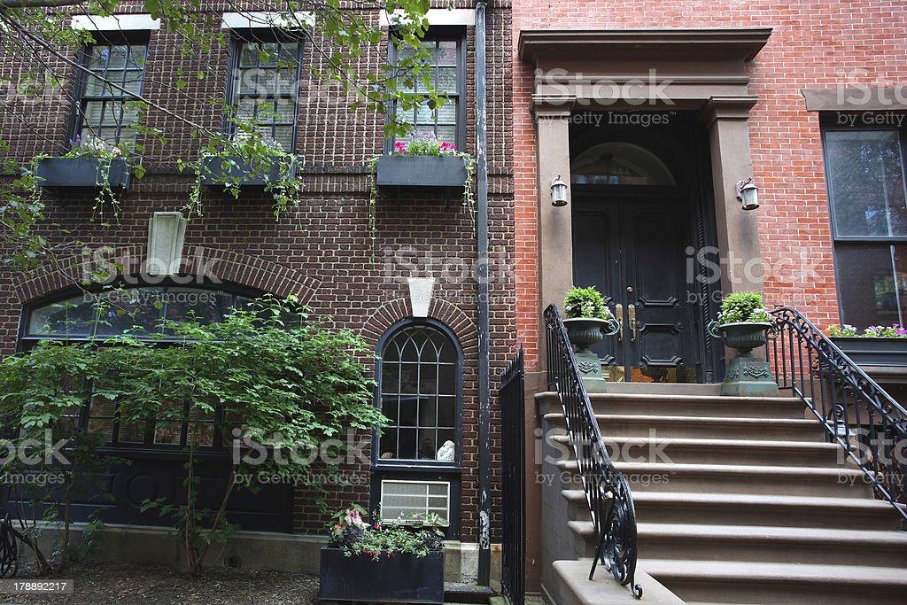 Brownstown Brooklyn, Brickwork royalty-free stock photo