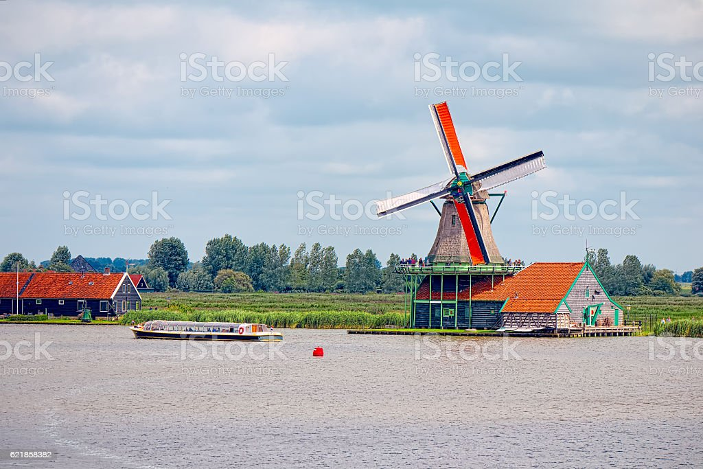 Browse among the mills in Zaandam, Netherlands stock photo