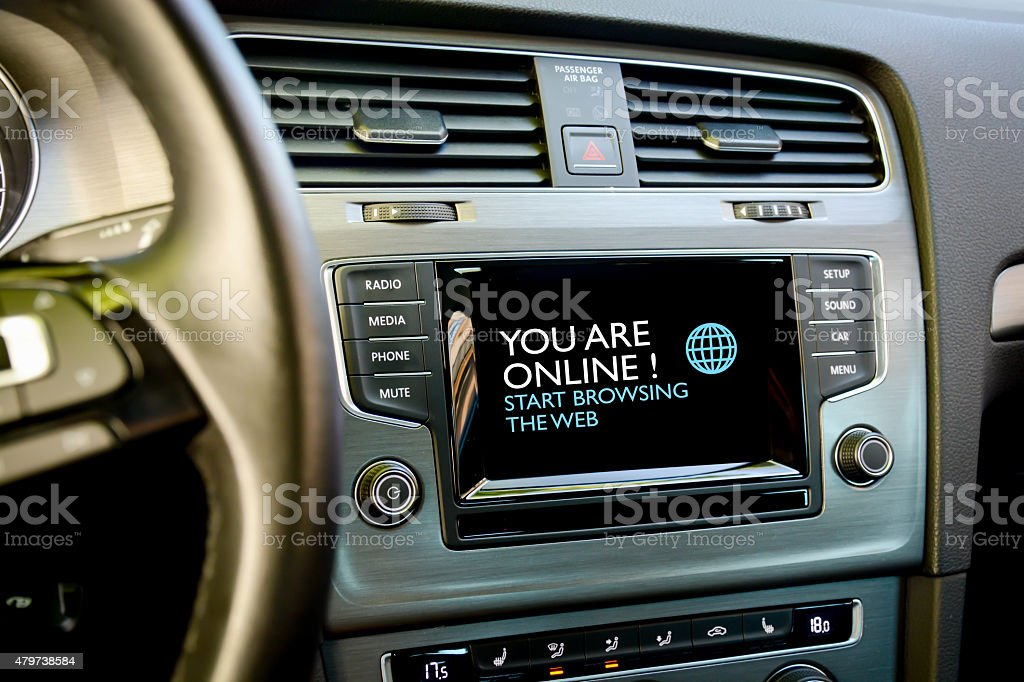 Browse internet in your car stock photo
