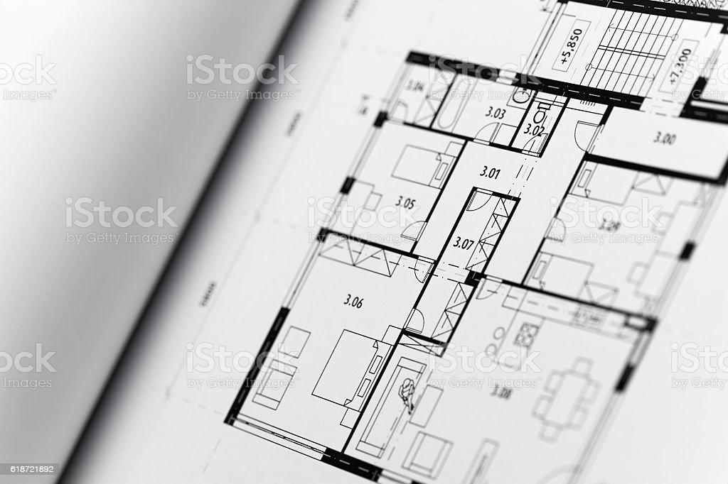Browse through architectonic portfolio stock photo