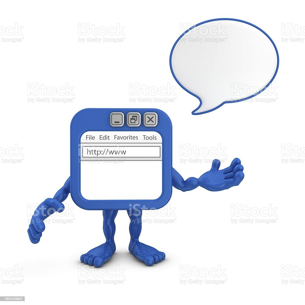 browser character with speech bubble royalty-free stock photo
