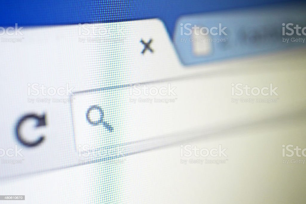 Browser tab with search icon and back button stock photo