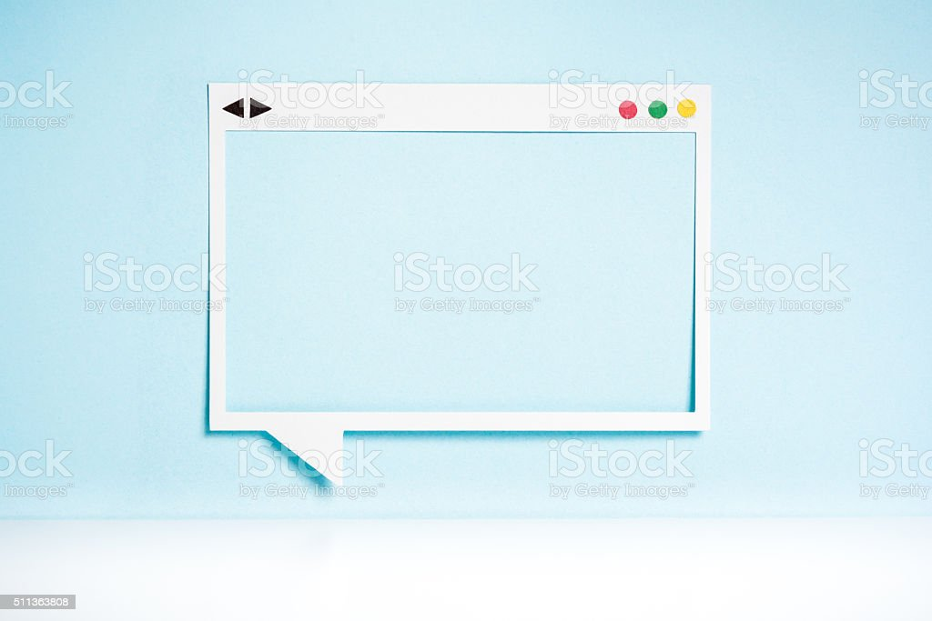 Browser window frame on blue background. Speech bubble concept. stock photo