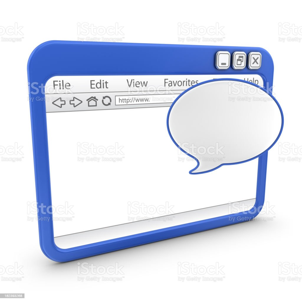 browser with speech bubble royalty-free stock photo