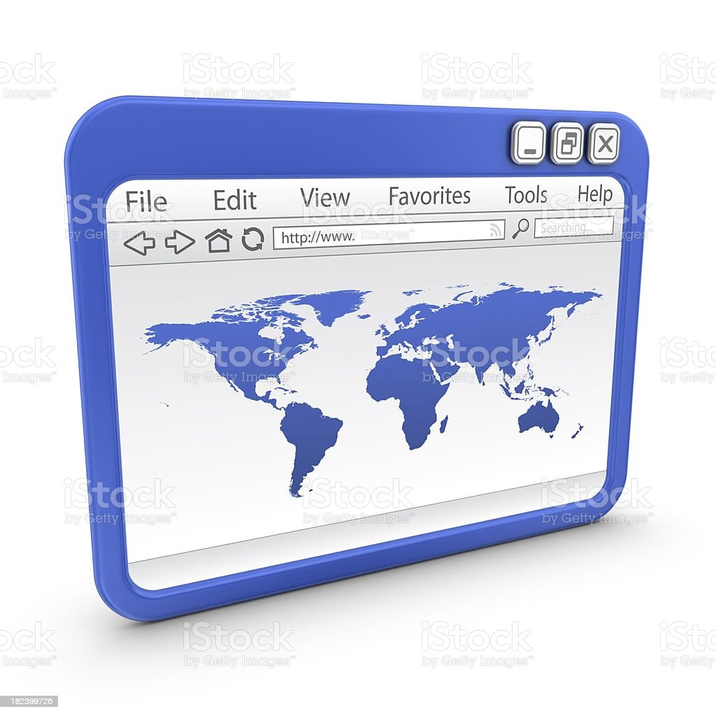 browser with world map royalty-free stock photo