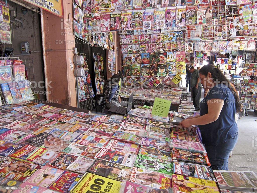 Browsing the Magazines stock photo