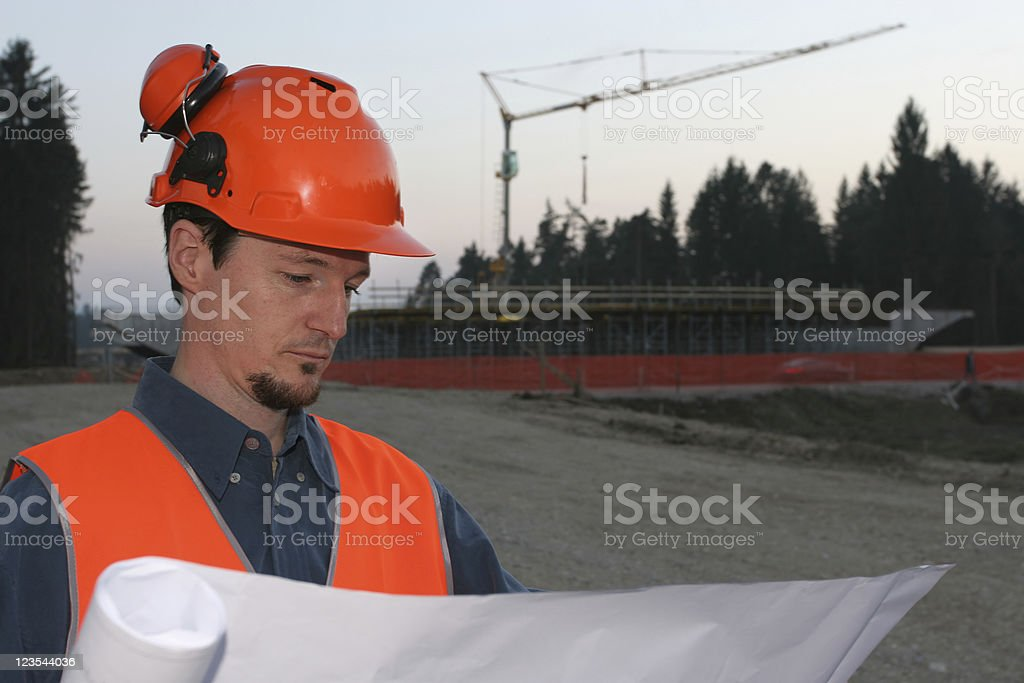 Browsing the plans royalty-free stock photo