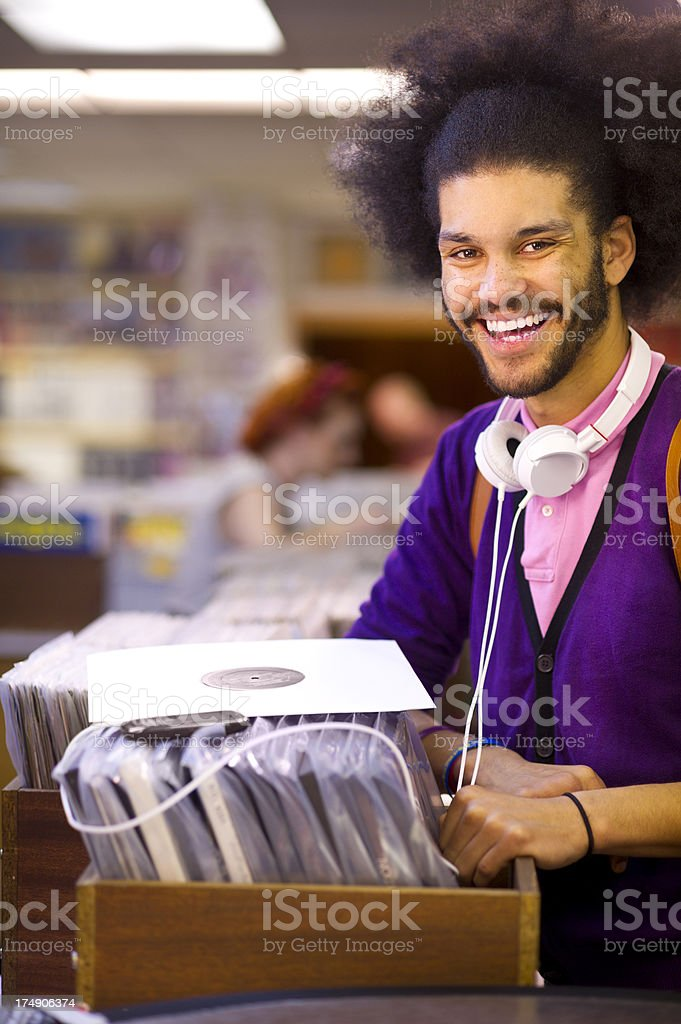browsing the  record shop royalty-free stock photo