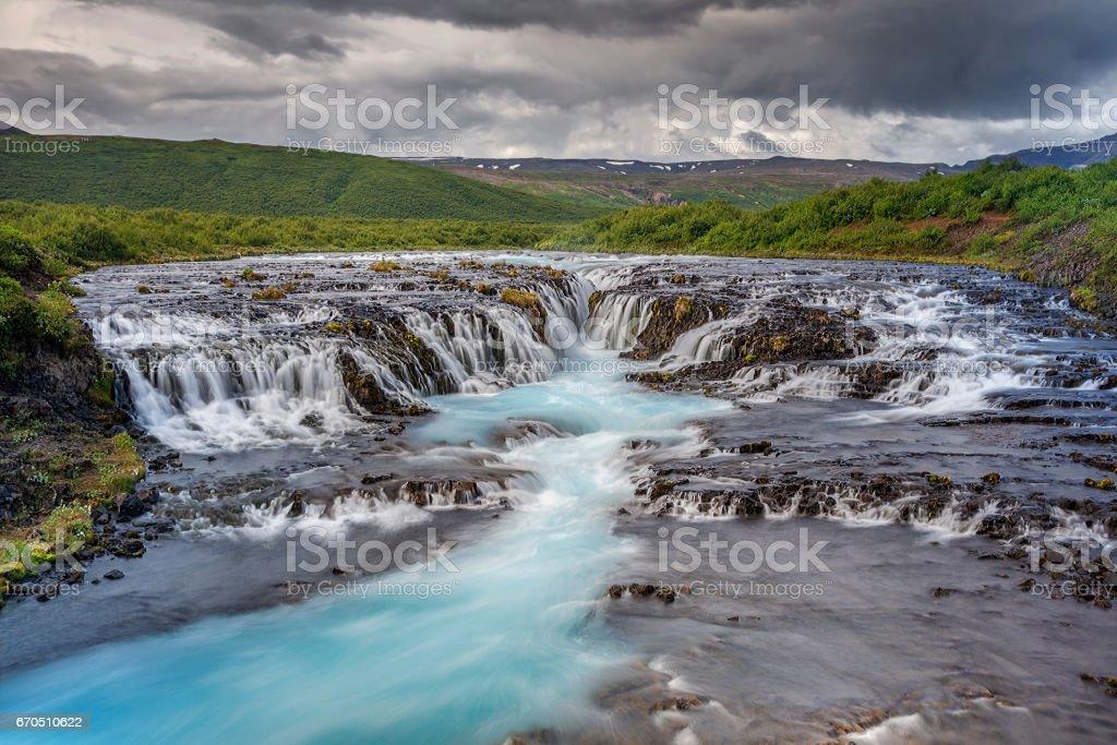 Bruarfoss Waterfall, Iceland stock photo