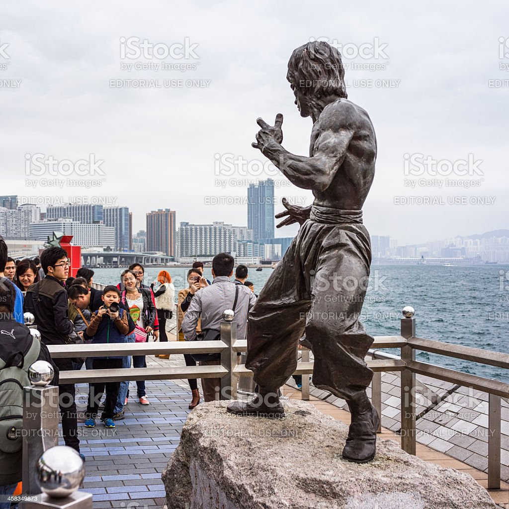 Bruce Lee Statue in Hong Kong stock photo