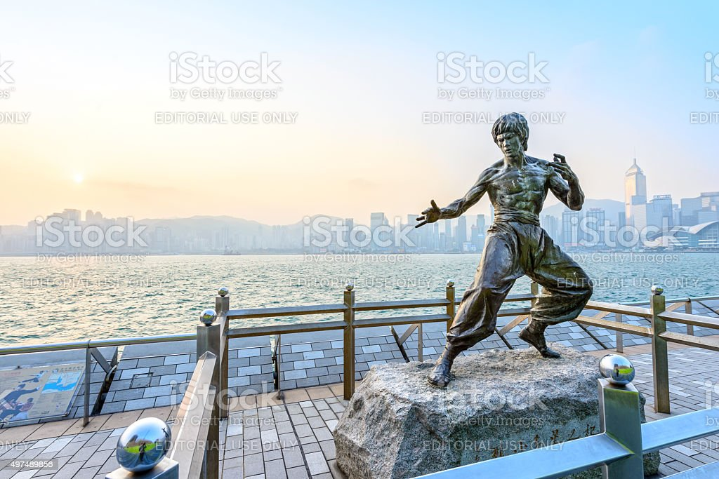 Bruce Lee statue stock photo