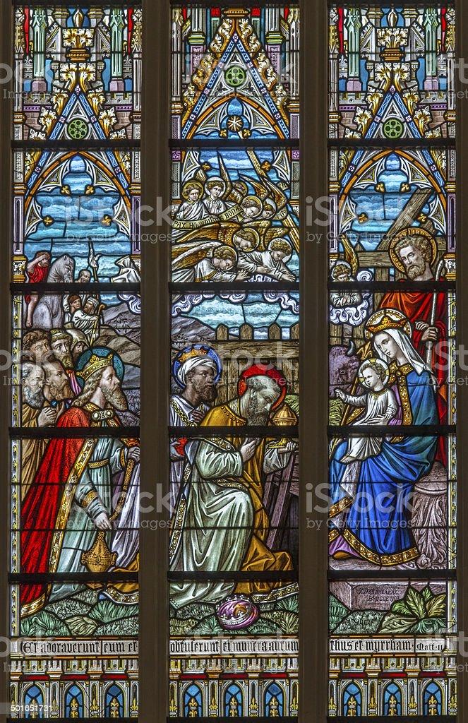Bruges - Adoration of Magi  in St. Salvator's Cathedral (Salvatorskerk). stock photo