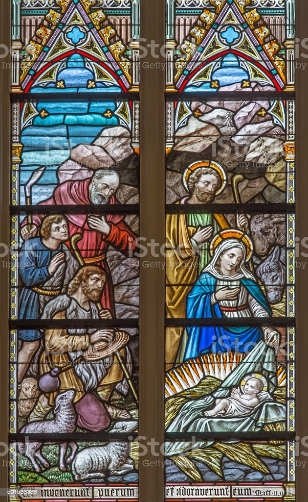 Bruges -  Adoration of pastores on windowpane in Salvator's Cathedral stock photo