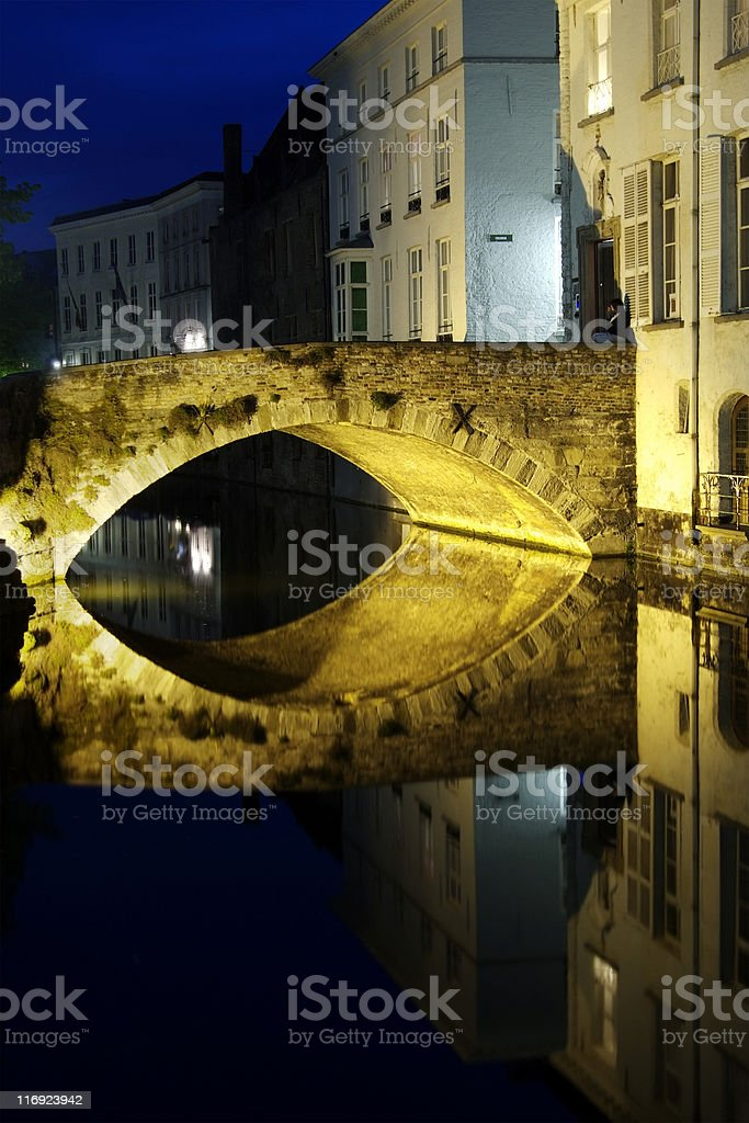 Bruges at night royalty-free stock photo