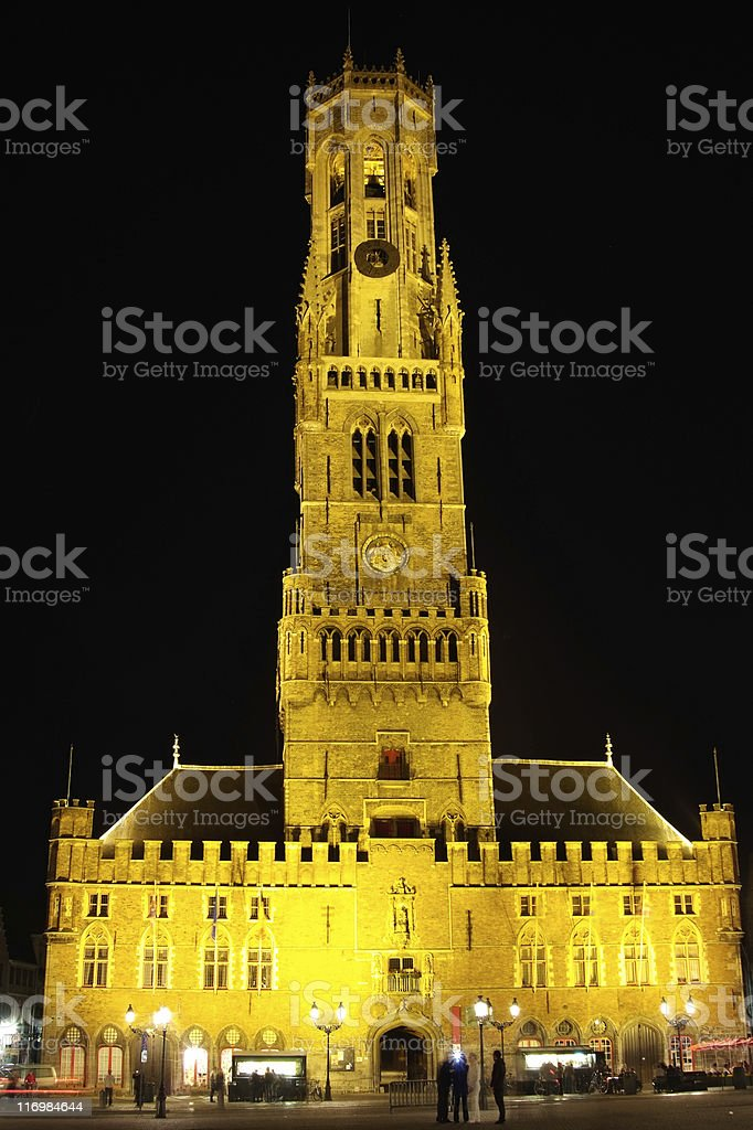 Bruges belfry at night stock photo