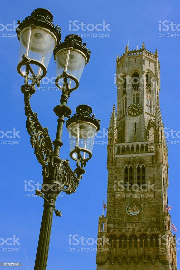 Bruges Belfry Tower stock photo