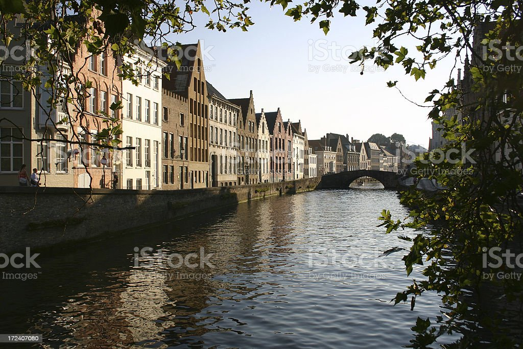 Bruges Belgium canal scene royalty-free stock photo