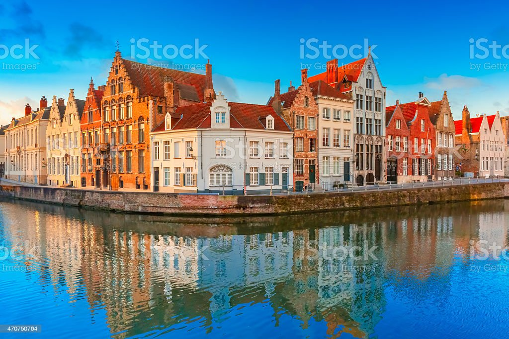 Bruges canal Spiegelrei with beautiful houses in Belgium stock photo