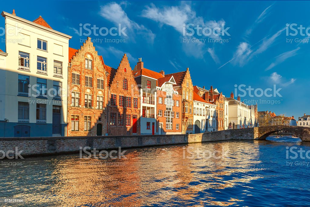 Bruges canal Spiegelrei with beautiful houses stock photo