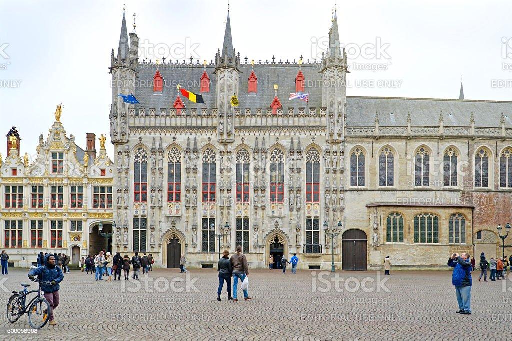 Bruges Castle Square, Belgium stock photo