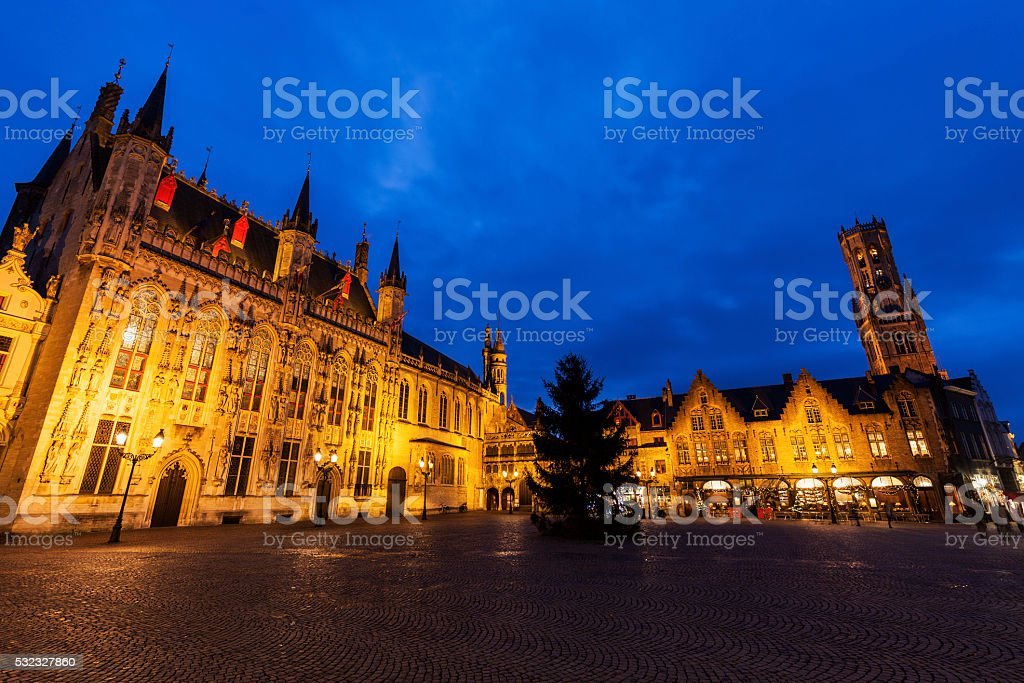 Bruges City Hall on Burg Square stock photo