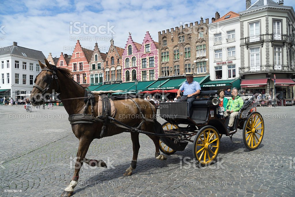Bruges horse and carriage stock photo