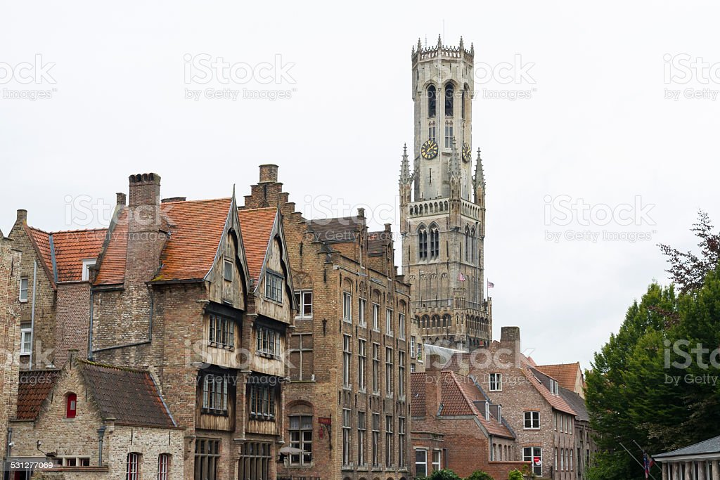 Bruges, houses and bell tower belfry stock photo