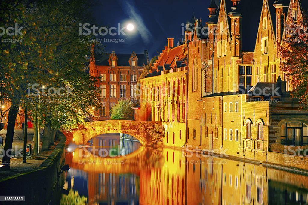 Bruges in night stock photo