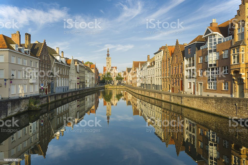 Bruges in the early morning stock photo