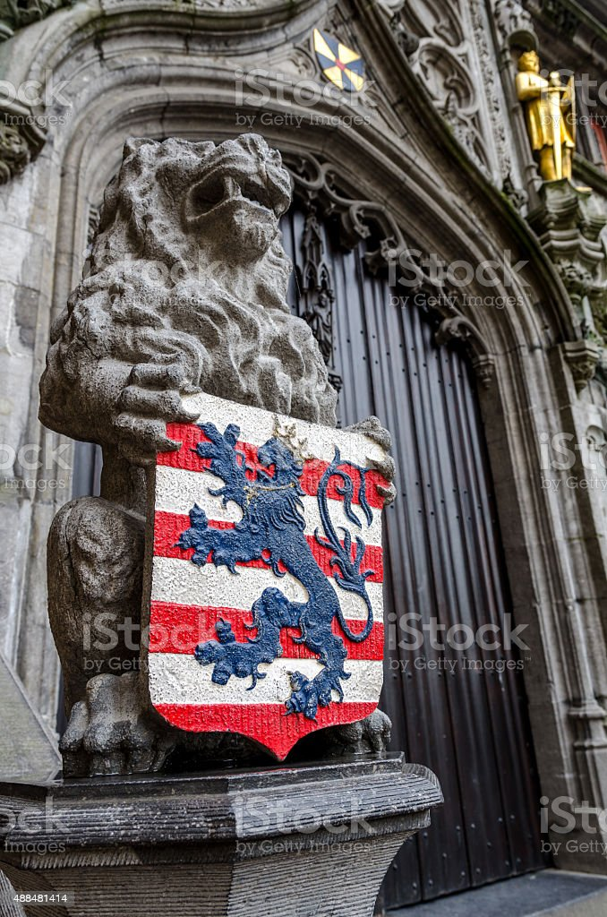 Bruges Lion and coat of arms stock photo