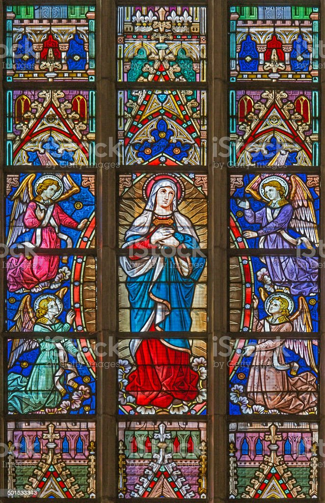 Bruges - Mary on windowpane in St. Salvator's Cathedral stock photo